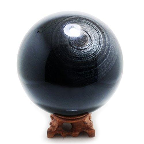 """Silver Obsidian Crystal Spheres, 80mm / 3.1"""" Diameter"""