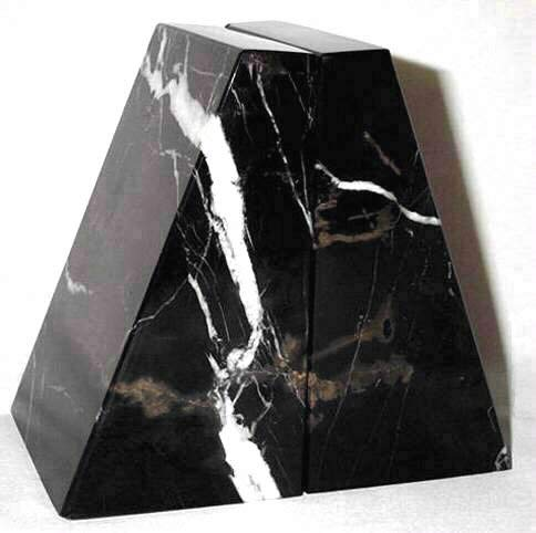 Khan Imports Decorative Black Marble Bookends