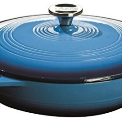 Lodge 3.6 Quart Cast Iron Casserole Pan. Blue Enamel Cast Iron