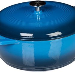 Basics Enameled Cast Iron Dutch Oven- 6-Quart, Blue.