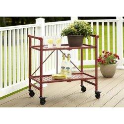 Cosco Metal Slat Folding Serving Cart, Red
