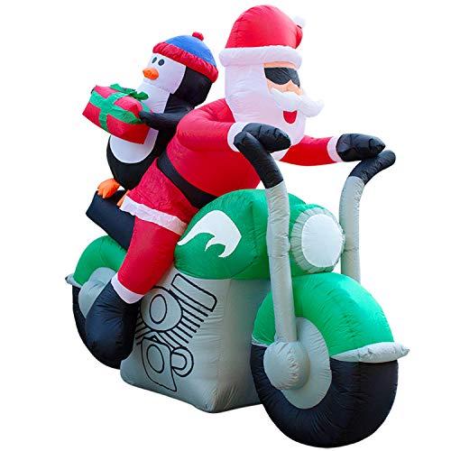 Holidayana 7ft Inflatable Santa on Motorcycle Christmas Decoration
