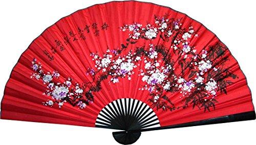 """Large 60"""" Folding Wall Fan -- Prosperity Blossoms"""