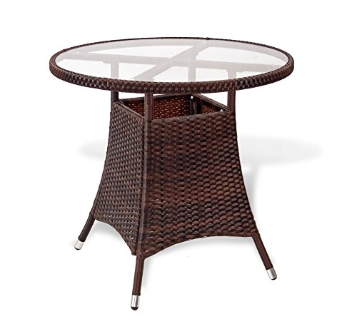 Patio Resin Outdoor Wicker Round 31.5 Inches Dining Table