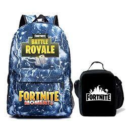 Kids Fortnite Backpack + Lunch Box School Bookbag