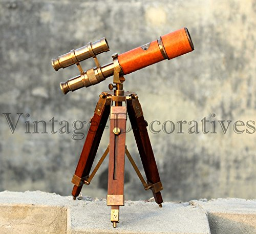 Arsh Nautical Leather Covered Brass Telescope
