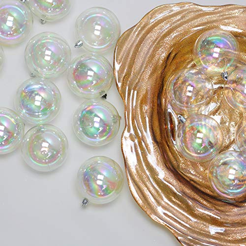 96ct Clear Iridescent Shatterproof Christmas Ball Ornaments