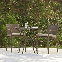 Cosco Outdoor High Top Bistro Set, 3 Piece, Amber Wicker
