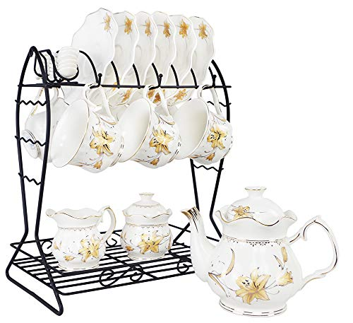 Porcelain Ceramic Coffee Tea Sets 21 pieces with Metal Holder