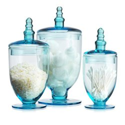Elegant Blue Set of 3 Glass Apothecary Jars with Lid