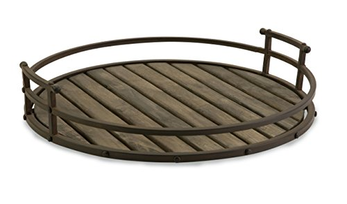 IMAX Vermont Iron and Wood Tray - Round Tray for Serving