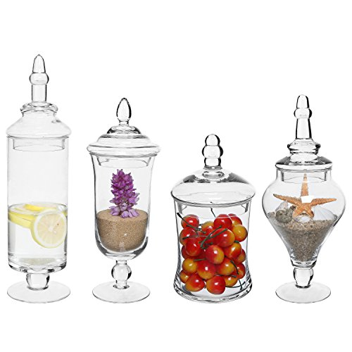 MyGift Set of 4 Clear Glass Apothecary Jars/Wedding Candy