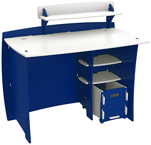 Legare Kids Desk with File Cart, 43-Inches Wide, Blue and White