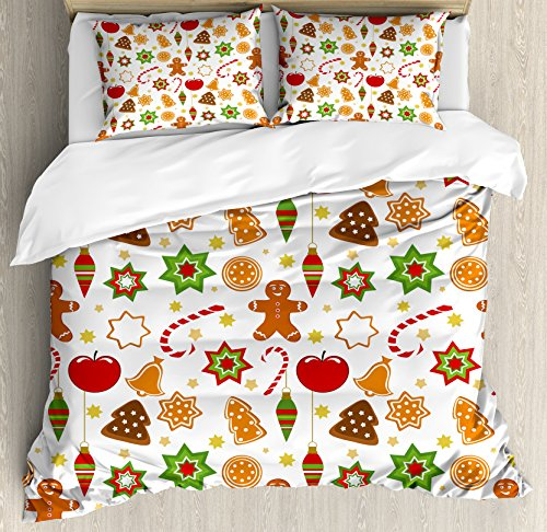 Ambesonne Gingerbread Man Duvet Cover Set Queen Size