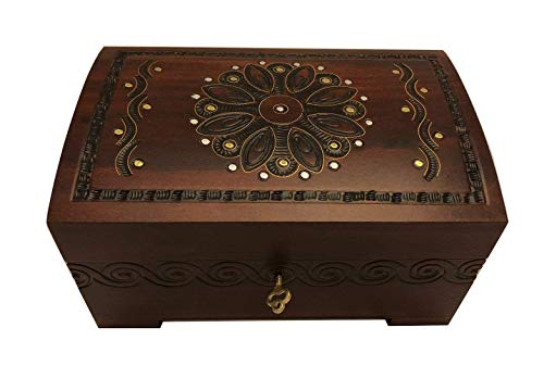 Large Flower and Holly Wood Jewelry Chest