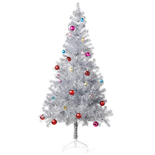 Wellwood 6 ft Tinsel Christmas Tree with Metal Stand