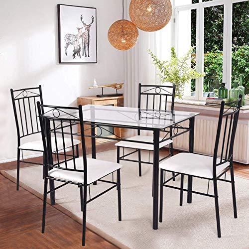 TANGKULA 5 Piece Glass Top Metal Dining Set Kitchen Breakfast Furniture