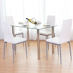 Set Modern Tempered Glass Top and PVC Leather Chair