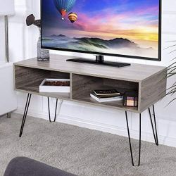 """Tangkula 42"""" TV Stand Home Retro W/Metal Hairpin Legs Media Console"""