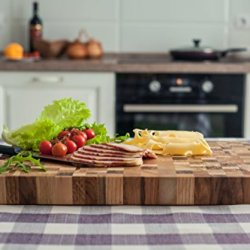 Cutting Board 18 x 12 x 1.6 inch End Grain Chopping Block Wood