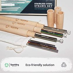 Reusable Straws by Sparkling Spot - Eco friendly, Stainless Steel