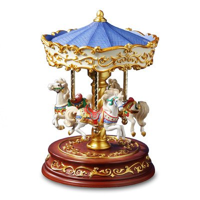 THE SAN FRANCISCO MUSIC BOX COMPANY Heritage 3-Horse Rotating Carousel