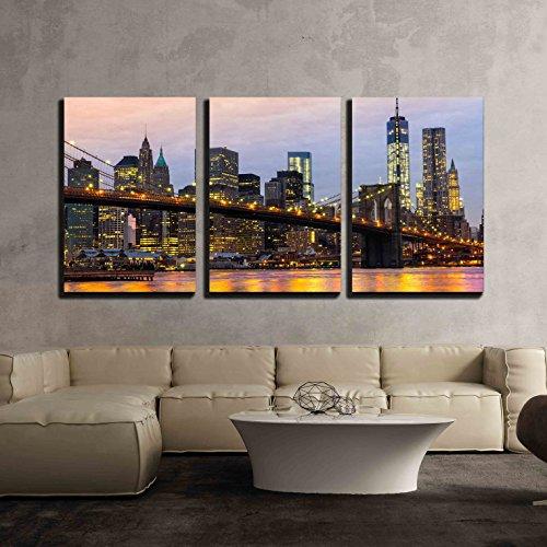 wall26 - 3 Piece Canvas Wall Art - Manhattan Skyline