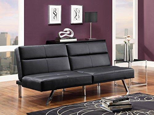 DHP Studio Convertible Futon Couch, Black Faux Leather