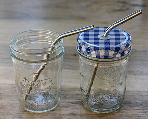 Short Thin Bent Stainless Steel Straws for Cocktail Glasses