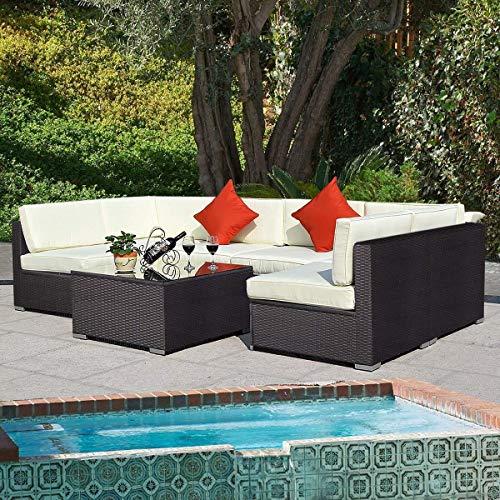 Tangkula 7 pcs Wicker Furniture Set