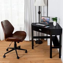 Corner Desk with Height Adjustable Ergonomic Swivel Chair