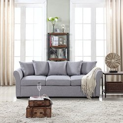 Classic and Traditional Ultra Comfortable Linen Fabric Sofa
