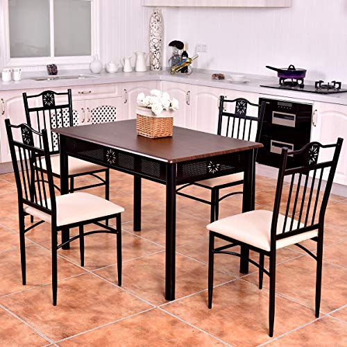 Tangkula 5 Piece Dining Table and Chairs Set