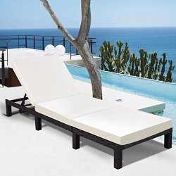 Tangkula Patio Reclining Chaise Lounge Outdoor Beach