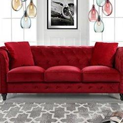 Divano Roma Furniture Classic Velvet Scroll Arm