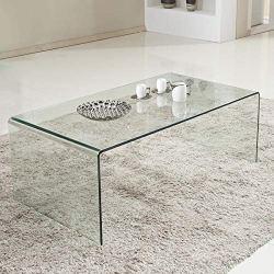Tangkula Glass Coffee Table Modern