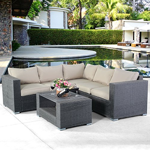All Weather Rattan Wicker Sectional Cushioned Couch