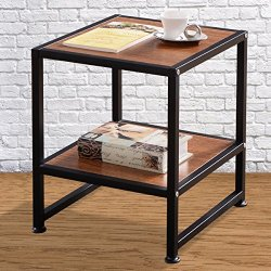 Tangkula Sofa Side Ende Table Simplistic Square Coffee Table Room Decor with Bottom Shelf