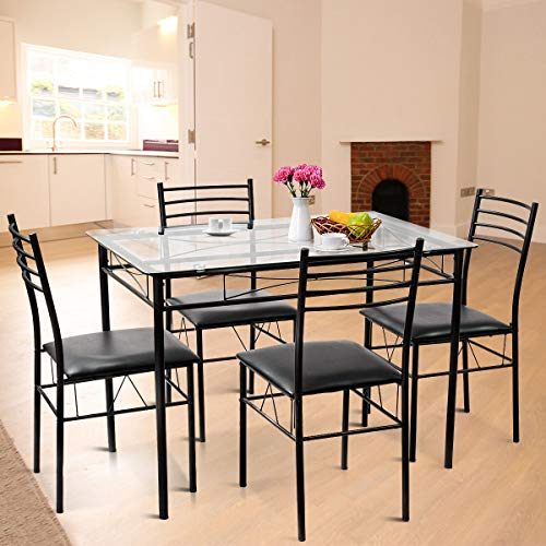 Room Tempered Glass Top Table and Chairs