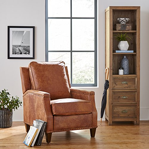 """Stone & Beam Marin Leather Recliner, 30""""W, Saddle Brown"""