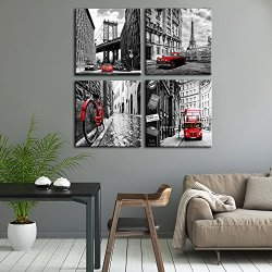 Wall Art City Canvas Prints Decor Homes Decorations Black and White