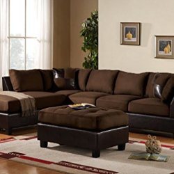 3 Piece Modern Microfiber Faux Leather Sectional Sofa