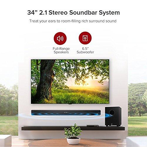 Soundbar, TaoTronics Sound Bars for TV 120W 2.1 Channel