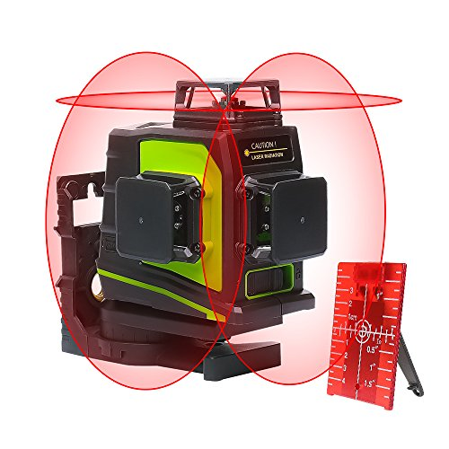 Huepar 3D Self-Leveling Laser Level 3x360 Red Cross Line 100Ft