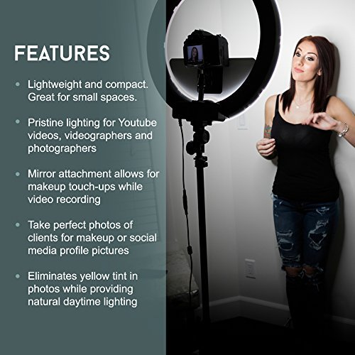 """18"""" LED Video Ring Light with Mirror, 6ft Stand Tripod Photo Doctors All In One 18"""" LED Video Ring Light Kit"""