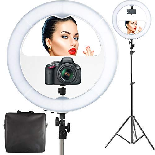 """18"""" LED Video Ring Light with Mirror, 6ft Stand Tripod"""