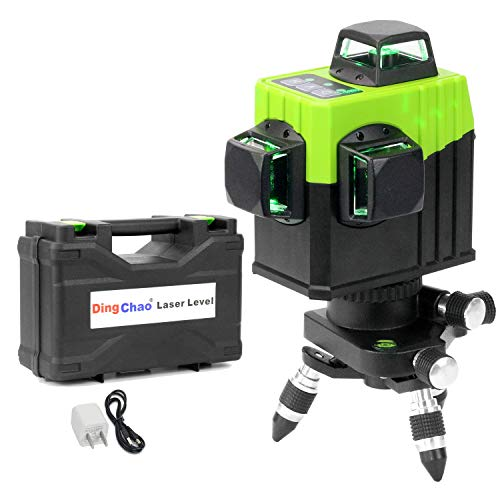 Dingchao Self-Leveling Three-Plane 3 x 360 Green Line Laser Level, with Micro-Adjust