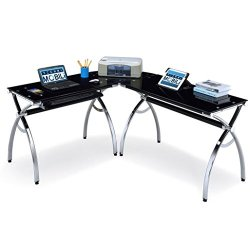 Techni Mobili Hip Black Glass Corner Computer Desk