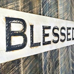 Blessed Sign Horizontal 40x10 - Carved in a Cypress
