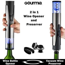 Gourmia 2 in 1 Wine Opener and Preserver set–Electric